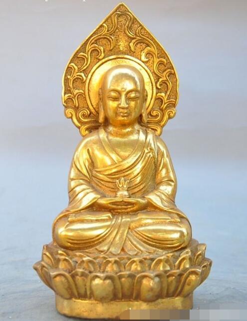 S01729 tibet buddhism fane bronze gilt Ksitigarbha Xuanzang tangseng god buddha statue