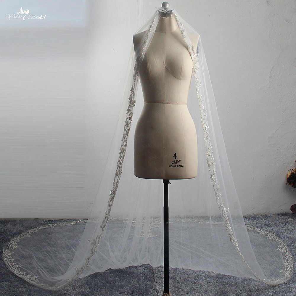 LZP419 Real Bridal Veil 3 Meters Embroidery Heavy Beading Wedding Veil One Layer Cathedral Metal Comb Veil