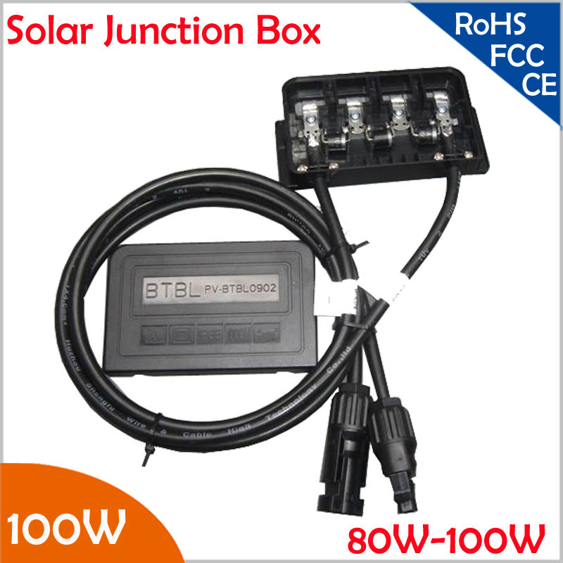 Waterproof Solar Module Junction Box 80W-100W, with 3 Diodes, MC4 Connector,90CM Cable,PV Module Junction Box for 80-100W System 25 years quality warranty 2pairs tuv ip67 mc4 connector solar cell pv connector free shipping