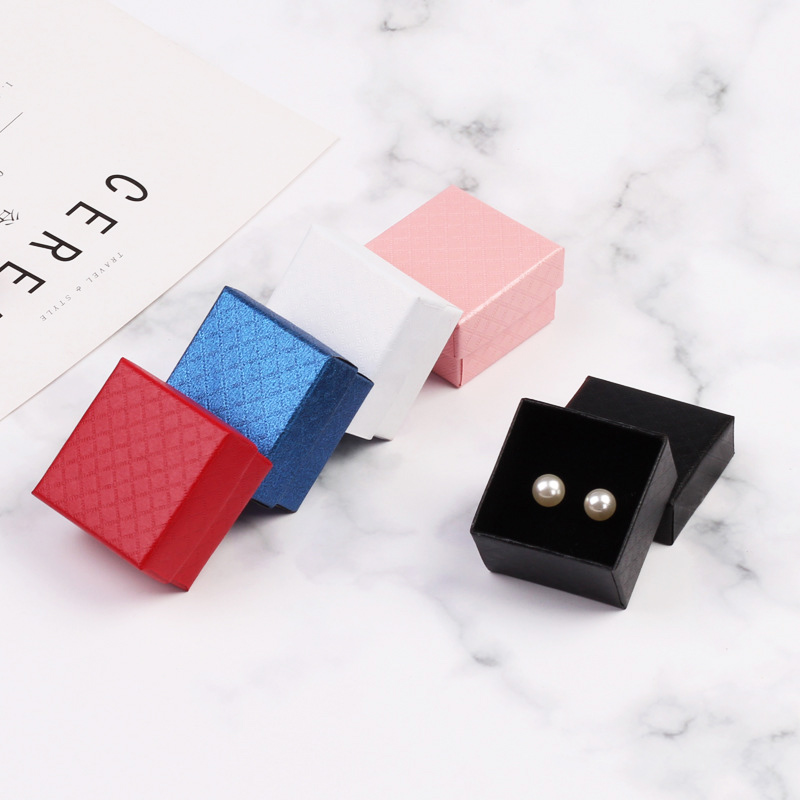 Bumpy Diamond Style Paper Earring Box For Jewlery Display Gift Box Multi-color Display Packaging With Sponge 1pcs