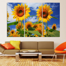 2017 Luxry 3panel Frameless Painting Canvas Decorative Sunflowers Picture Of Modern Home Bedroom Wall Art No Framed