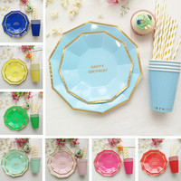 Golden Striped Happy Birthday Disposable Tableware Set Paper Plates Cups Straws Birthday Party Carnival Tableware Supplies