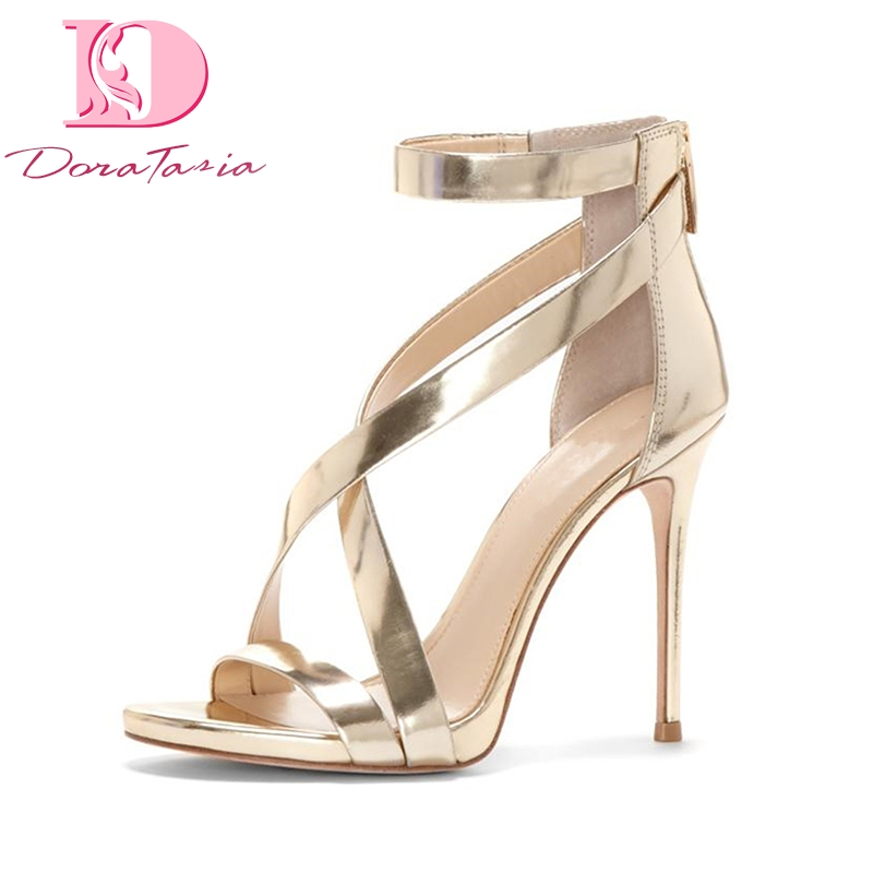 DoraTasia New Brand New Big Size 33-43 Summer Party Sandal Shoes Women Sexy Thin High Heels Zipper Woman Shoes Sandals karinluna best quality crystals brand big size 34 43 sexy high heels summer sandals shoes women party woman shoes