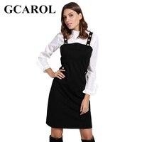 GCAROL נשים כפתור מתכת הגעה חדשה רצועות שמלת סתיו החורף מתוק סגנון הסטודנטיאלי שמלות לנשים