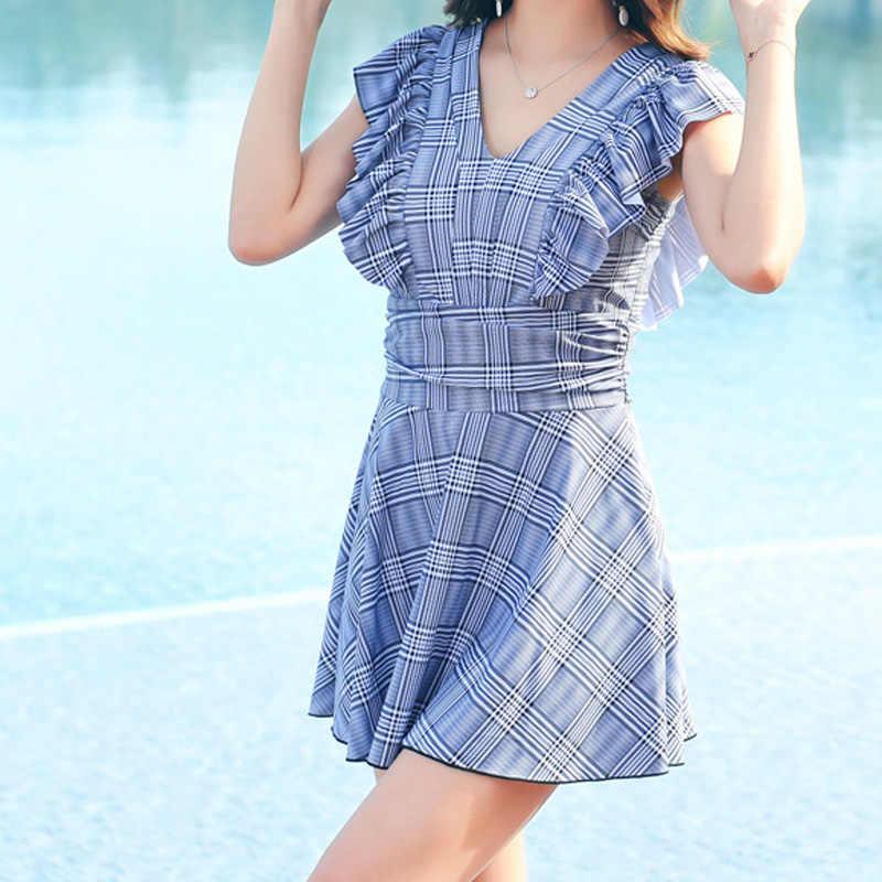 2019 новое платье для плавания плюс размер одежда для плавания Танкини комплект купальник большого размера женское платье для плавания одежда для полных женщин купальный костюм