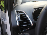Car Interior Front Air Conditioning Vent Outlet Trim Decorative Sticker 2Pcs Set For Ford Kuga 2016