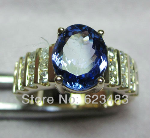jewelry 6x8MM Natural Blue Topaz solid 14k gold Natural diamond semi mount ring