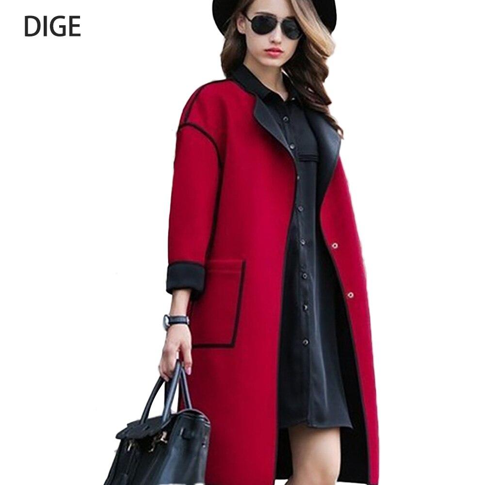 2019 Europe Style Winter Women Wool Blend Long Coat Long Sleeve Loose Trench Coats Elegant Cape Overcoat  Size S-1XL B0141