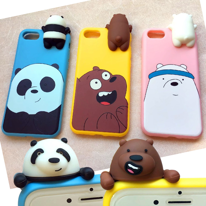 Cute 3D Toys Bear Silicone Case for Apple iPhone 7 7plus 8 8plus cases Panda Brown Polar bear Cartoon Lying Down Dolls soft case