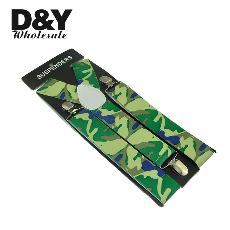 Mens Unisex Clip-on Braces Elastic 3.5cm Wide Army Camouflage pattern Suspenders/Gallus/Belt For Women`s Wholesale & Retail