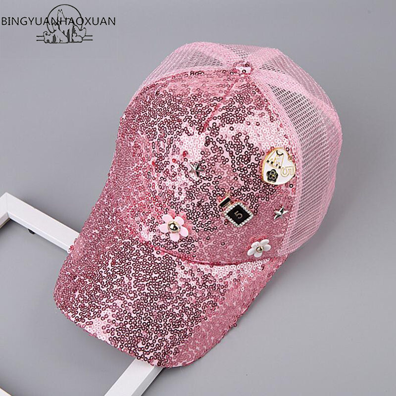 e431cec7 BINGYUANHAOXUAN Fashion Summer Mesh Hat Child Baseball Cap Snapback Hat For  Boy Snapback Caps Bling Bling