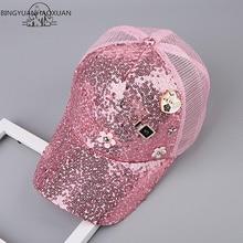 BINGYUANHAOXUAN moda verano malla sombrero del niño gorra de béisbol del  sombrero del Snapback Boy Snapback Caps Bling Hip Hop s. 2b0a32407a9