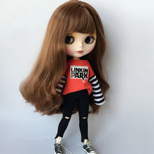 2018 1/6 Fashion blyth doll clothes stripe T-shirts+jeans Accessories barbi clothing for azone ob24 ob27 doll accessories(China)
