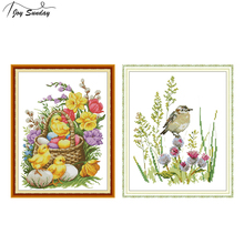 Joy Sunday Chickens and Flowers Stamped Cross Stitch Kits 11ct 14ct Aida Canvas Embroidery Printed Needlework
