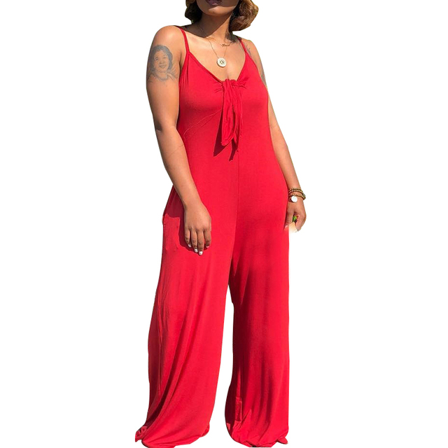 6b25c8d9f1f2 women Jumpsuits sexy halter spaghetti strap sleeveless backless wide leg  casual high streetwear overall female palysuits WS9590R