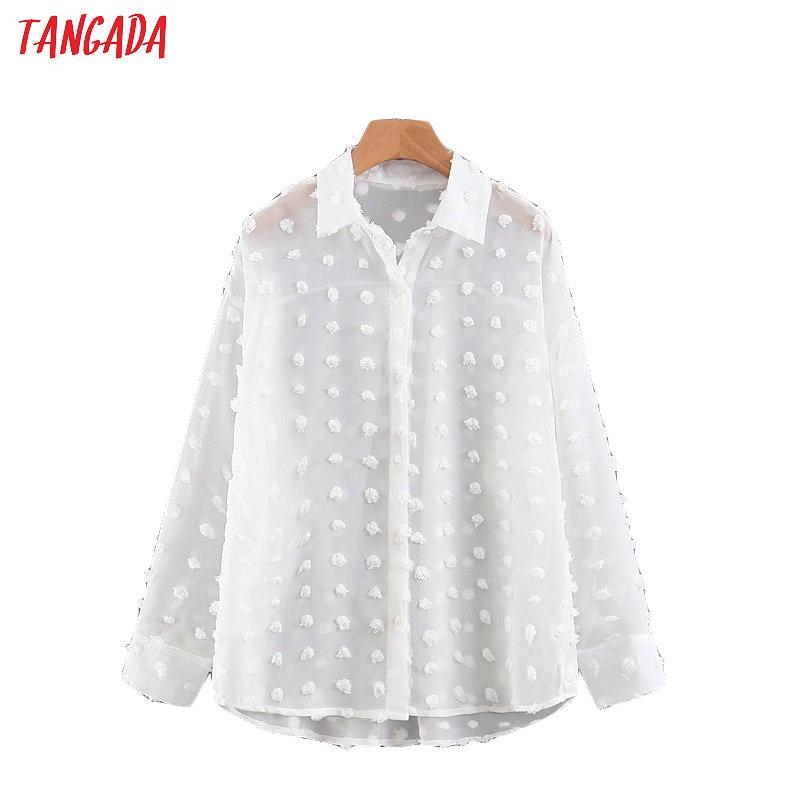 Tangada Women Chic White Chiffon Blouse Long Sleeve Turn Down Collar Female Oversized Shirts Stylish Office Ladies Tops SL372