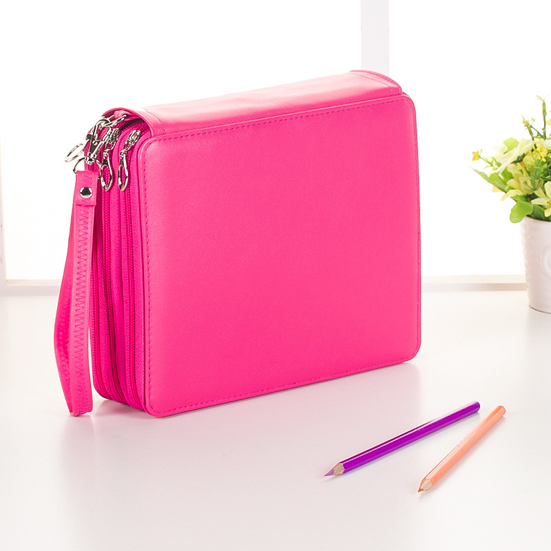 Image 4 - 120 Holes 3 Layers School Pencil Case PU Leather Large Sketch Pencilcase Art Pen Bag Multifunction Penalty Pouch Box Supplies-in Pencil Cases from Office & School Supplies