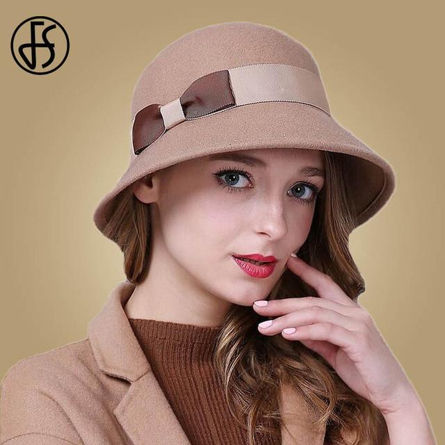 6df13698c0d76 FS Lady Winter Australia Wool Vintage Floral Female Fedoras Bowler Felt Hats  Fashion Bowknot Sombrero Mujue Cloche Hat For Women