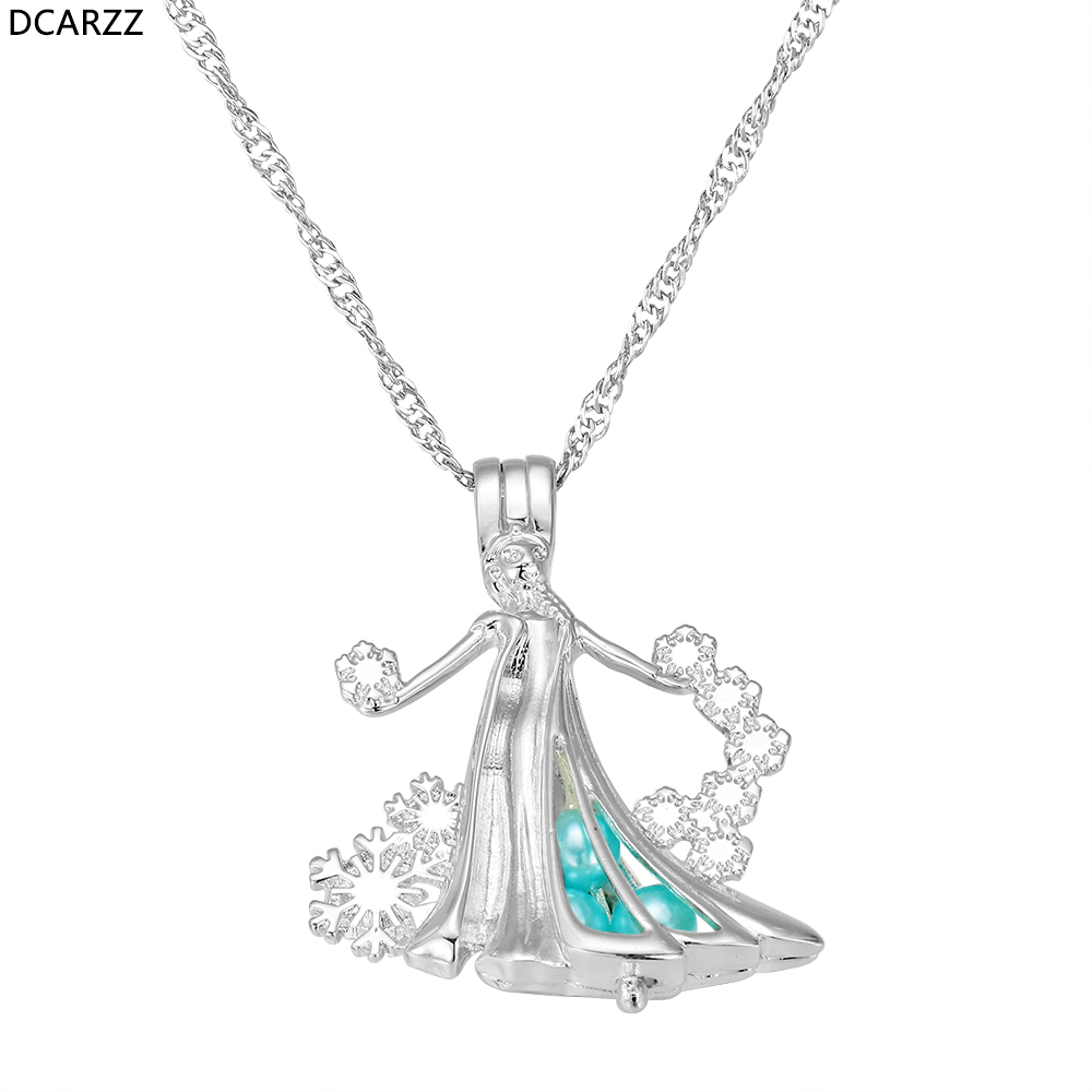 Elsa Pearl Cage Necklace Silver Snowflake Cartoon Princess Jewelry Snow Queen Girls Women Gift Pearls Pendant