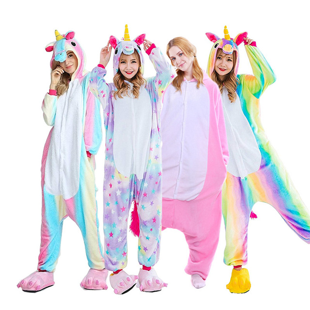 2019 Kigurumi Adults Animal Unicorn Pajamas Set Cartoon Women Men Winter Unisex Flannel stitch Pajamas unicornio Sleepwear