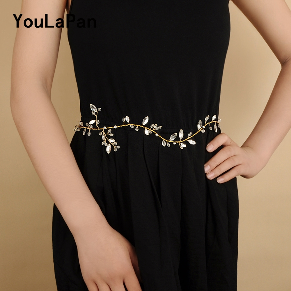 YouLaPan SH108 Gold Wedding Belt Women Belt Rhinestone Belt  Bridal Belts Crystals Bridal Sash Wedding Accessories Thin Belts
