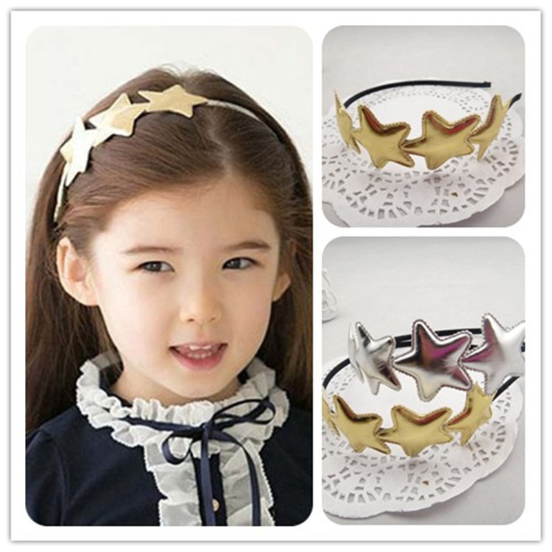 2016 Rushed Hot Selling 1 Pc Cute Korean Girl Hair Band Gold&silver Star BB Accessories Solid Pu Handmade Headband Free Shipp metting joura vintage bohemian ethnic tribal flower print stone handmade elastic headband hair band design hair accessories
