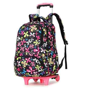 Kid\'s Travel Rolling Luggage Bag School Trolley Backpack Girls Backpack On Wheels Girl\'s Trolley School Wheeled Backpacks Child