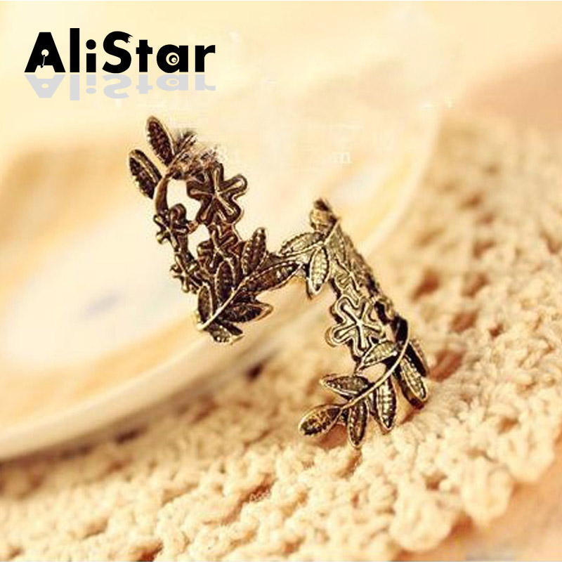 Vintage Big Flower Hollow Finger Rings Antique Bronze leaves rings for women exaggerate point ring cover design #RI050