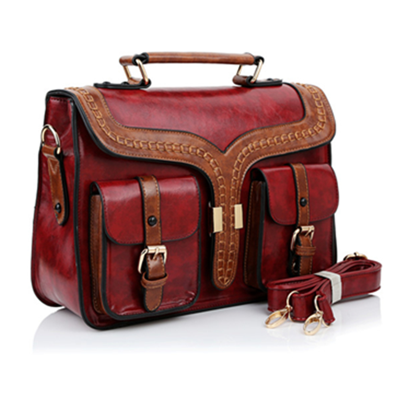 High Quality PU Leather British Style Vintage Briefcase Bag Ladies Shoulder Bags Retro Women Postman Bag Mori Girl Handbags swdf 2016 new british style women backpacks high quality pu leather ladies backpack women s hollow leaves bags 3 colors optional