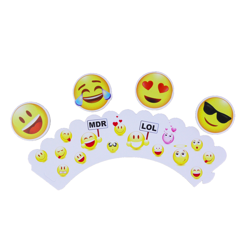 wholesale 360 Set 720 pcs Face Expression Paper Cupcake Wrappers Toppers for Kids Birthday Party Decoration Cakecup Toppers