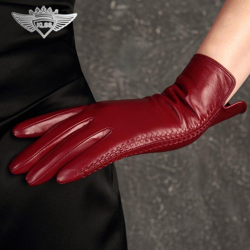 KLSS Брендовые женские перчатки из натуральной кожи высокого качества козья кожа перчатки зимние элегантные женские перчатки из овчины модн...
