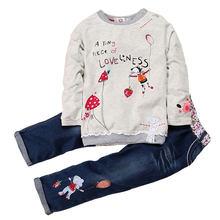Moda bahar sonbahar çocuk kız giyim setleri pamuk sıfır yaka bluzlar + kot 2 adet uzun kollu çiçek kot takım elbise 2 ila 6 yaşında