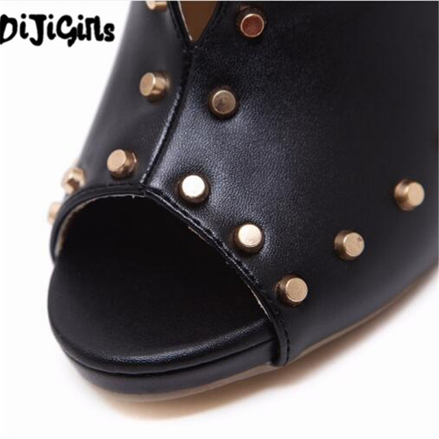 2018Europe Popular Street beat rivet fish mouth shoes High-heeled Catwalk sexy Rome Casual Buckle Strap PU heel 12cm Woman pumps 5