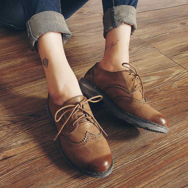 6d7646ad83c17 Teahoo Oxford Shoes for Women 2018 British Style Flats Brogues Leather Shoes  Woman Handmade Lace up