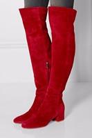 Женские зимние сапоги на плоской подошве; красные замшевые сапоги выше колена; высокие сапоги на толстом каблуке с круглым носком; эластичн