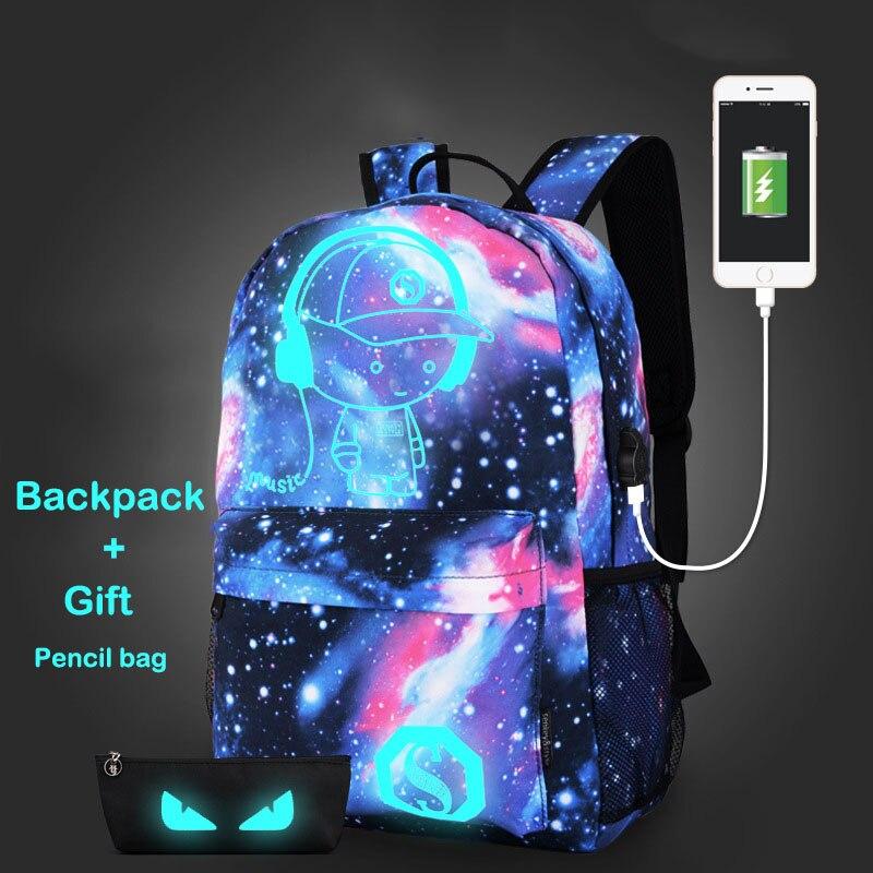 Fashion Comic Printed Men Women Backpack USB Charging Luminous Demon School Bags Students Casual Laptop Daypack Capacity Mochila oreimo comic anthology