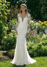 Beach Mermaid Wedding Dress Long Sleeves  Boho Bride Dress 2019 Illusion Neck Wedding Gowns Vestido De Novia Floor Length