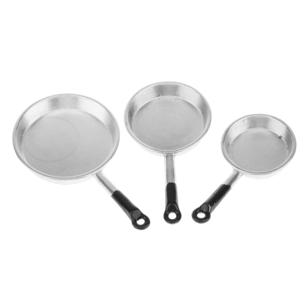 1//12 Miniature Cooking Pan Pot Dollhouse Kitchen Accessories Kids Toy 3pcs