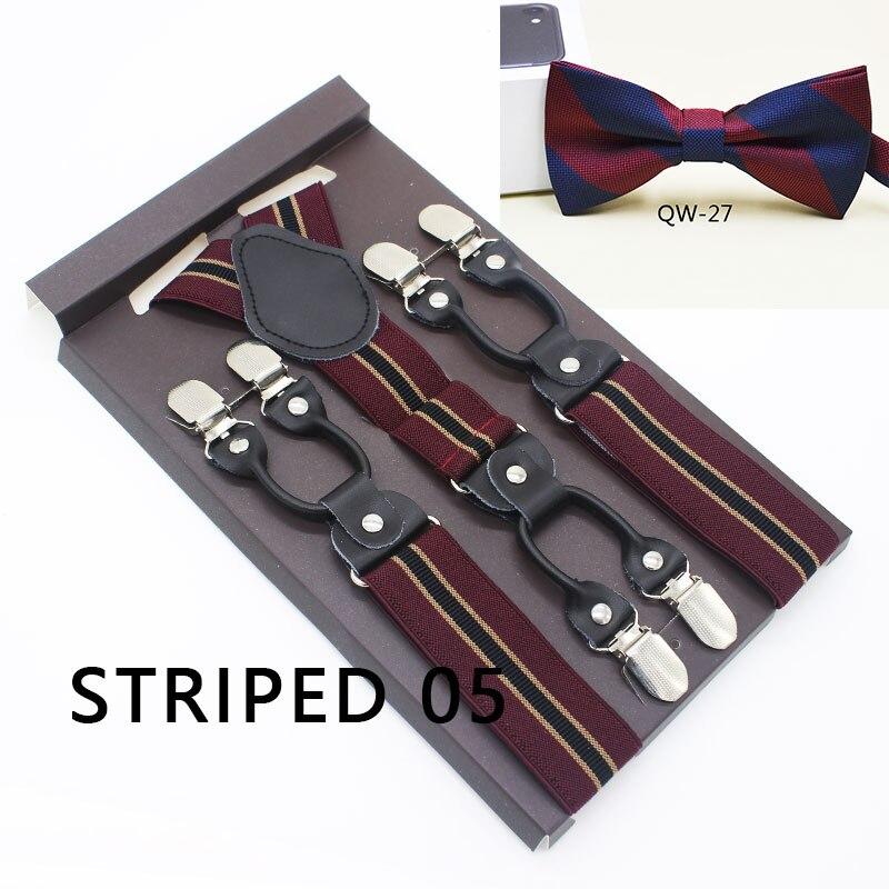 Black Real Leather 6 Clips Suspenders Braces Bow Tie Sets Vintage Casual Striped Suspensorio Tirante Trousers Strap Bretele