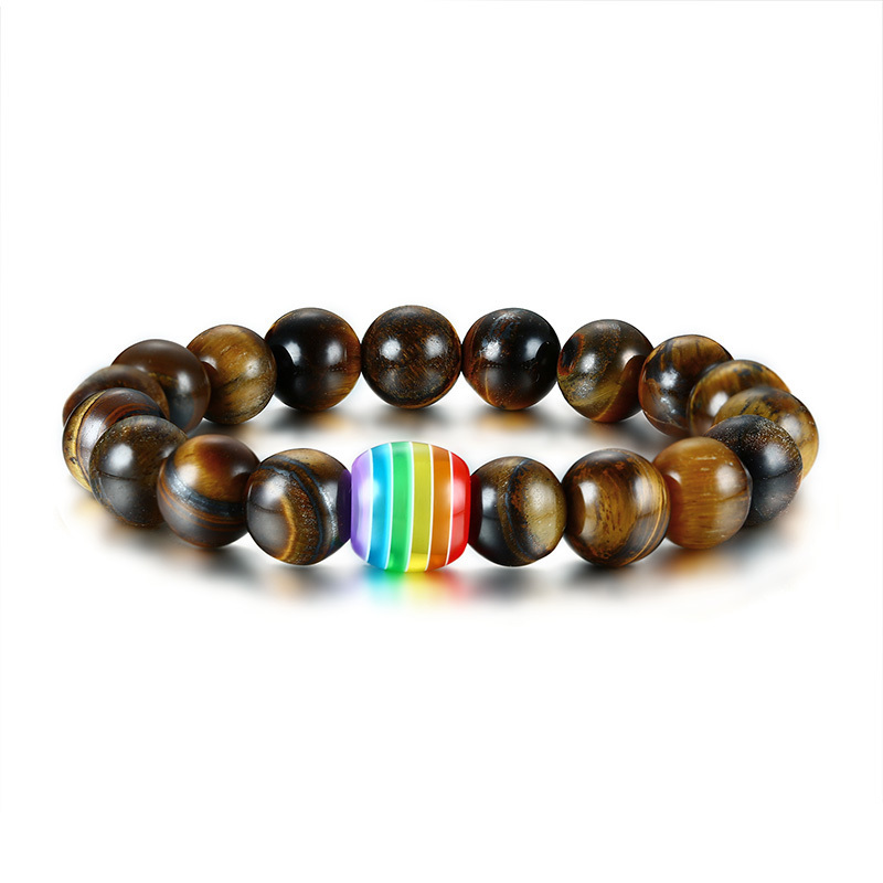 10MM Tiger Eye Stone Beaded Bracelets for Men Healing Fertility Chakra Bangle Pulseira Braslet bileklik Male Jewelry