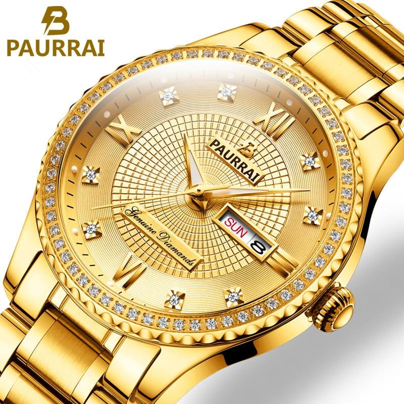 Men Watches 2019 Luxury Top Brand Gold Diamond Role Quartz Steel Calendar Luminous Relogio Masculino Wrist