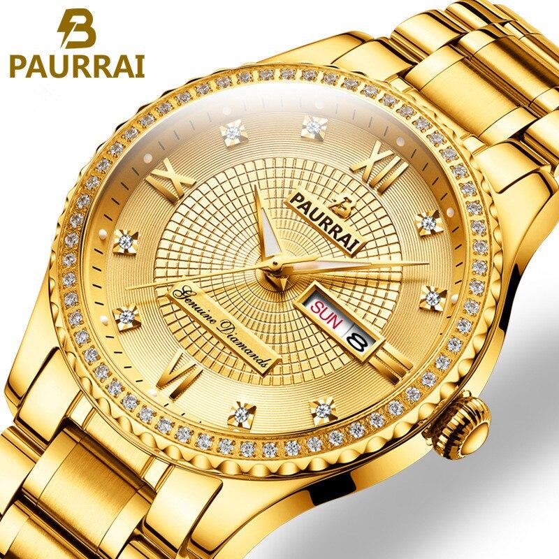 Hommes montres 2019 luxe Top marque or diamant rôle Quartz acier calendrier lumineux Relogio Masculino montre-bracelet horloge