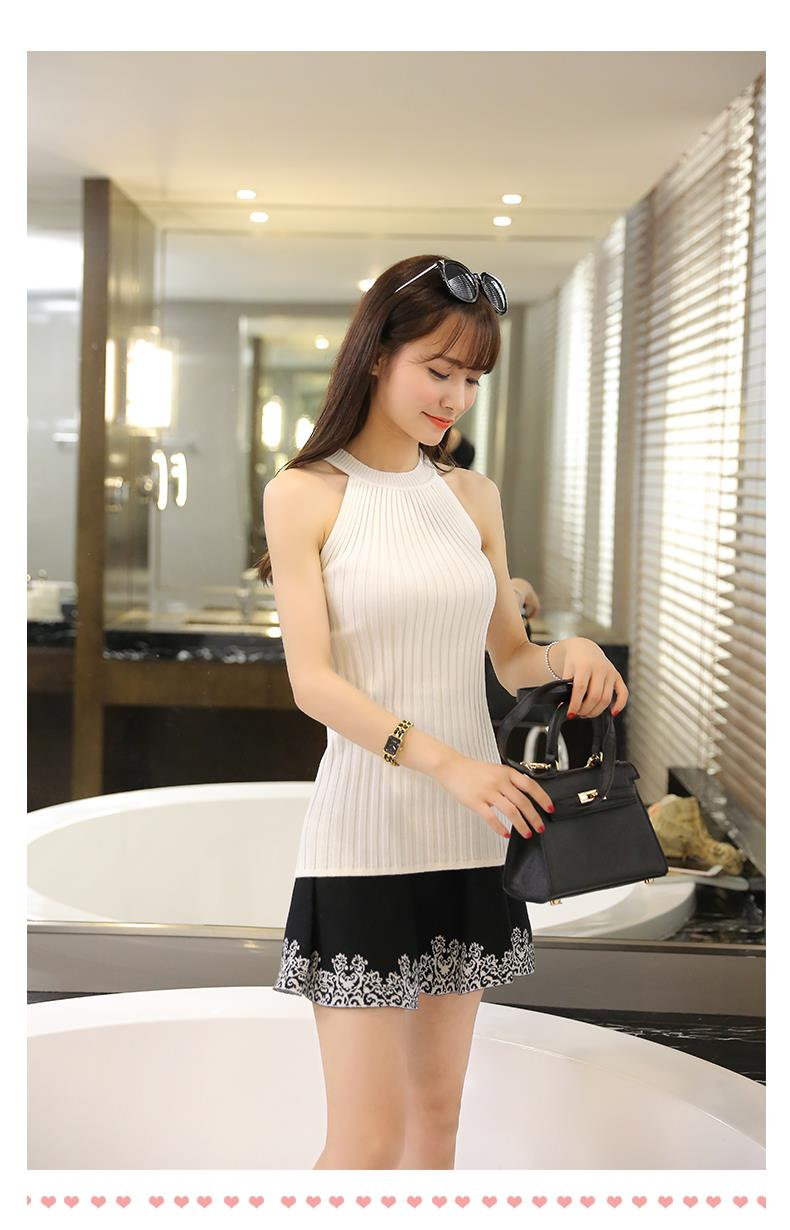 Women Spring Summer Sweater tanks sleeveless Knitted Camis Slim Halter Neck Sexy Strapless 15