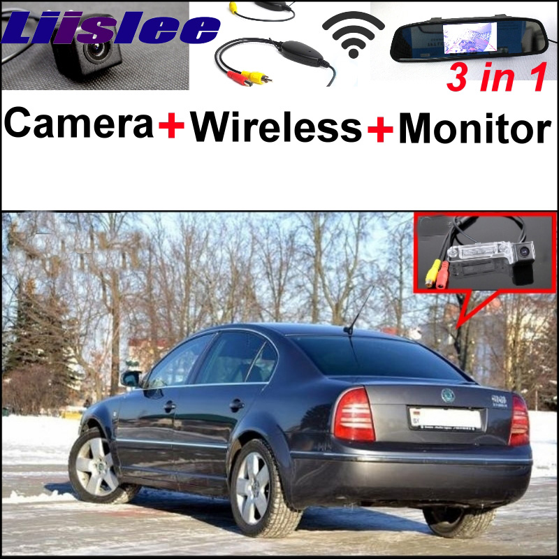 Mirror Monitor Easy DIY Back Up Parking System For Skoda Superb 2002~2008 + 3 in1 Special Rear View Camera + Wireless Receiver