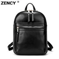 Zency Brand Luxury Fashion Oil Wax Cowhide Women Girl Female Genuine Leather Backpack Real Leather Woman