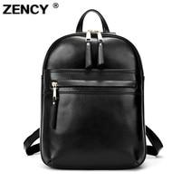 Zency Brand Luxury Fashion Oil Wax Cowhide Women Girl Female Genuine Leather Backpack Real Leather Woman