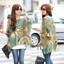 Women's Casual  Batwing Sleeve Loose Oversized Tops Chiffon Beach Shirt Blouse Tops SV14