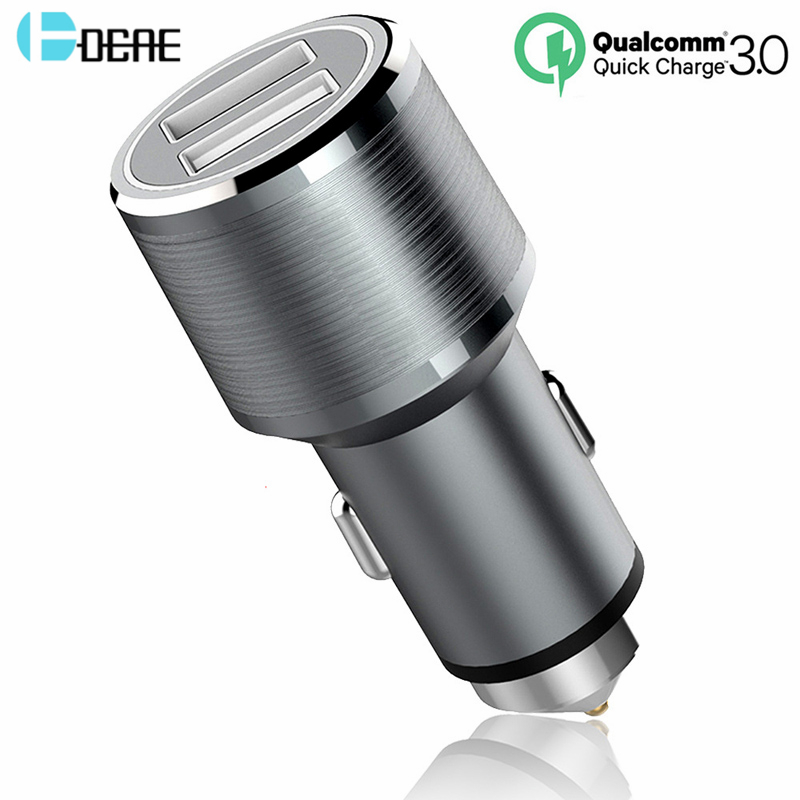 DCAE Car Charger Quick Charge 3.0 2 Port Support QC3.0 Usb Car-Charger for iPhone X 8 7 6s 5S Samsung Galaxy S8 Xiaomi HTC LG