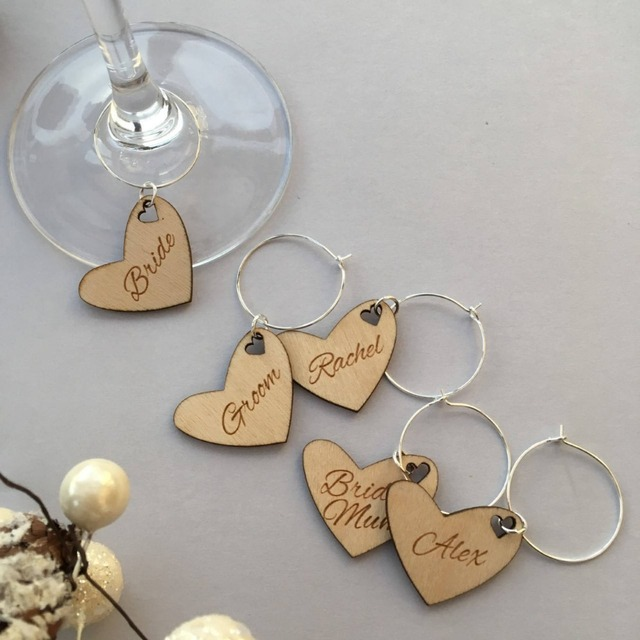 Personalised Heart Shaped Glass Charm Wedding Favour Ideas Wooden