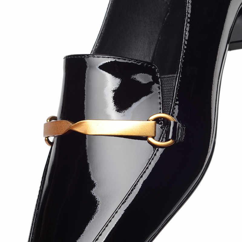 Mode vrouwen Gouden Metalen Ketting Instappers misstap ons Schoenen Vrouw 33-42 Vierkante Teen Flats Klimplanten Dames Zwart wijn Rode Jurk Schoen